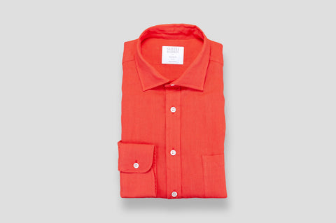 Smyth & Gibson 100% Irish Linen Shirt in Tomato Red
