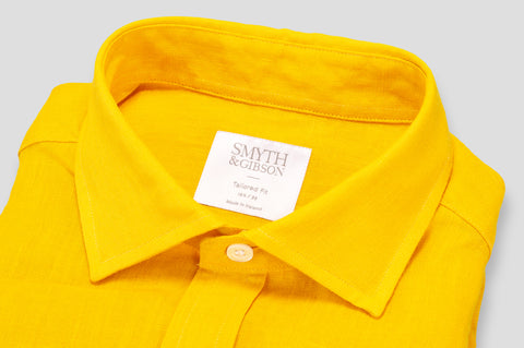 Smyth & Gibson 100% Irish Linen Shirt in Burnt Yellow