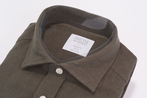 Smyth & Gibson 100% Heavy Irish Linen Tailored Short Fit in Khaki - Smyth & Gibson Shirts