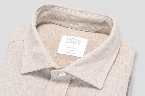 Smyth & Gibson 100% Heavy Irish Linen Shirt in Stone - Smyth & Gibson Shirts