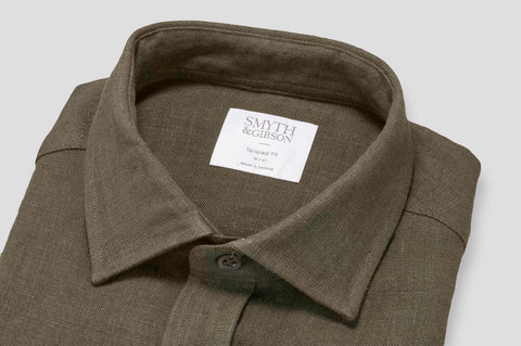 Smyth & Gibson 100% Heavy Irish Linen Shirt in Brown - Smyth & Gibson Shirts