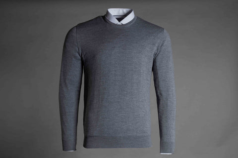 MERINO WOOL CREW NECK JUMPER IN LIGHT GREY - Smyth & Gibson Shirts