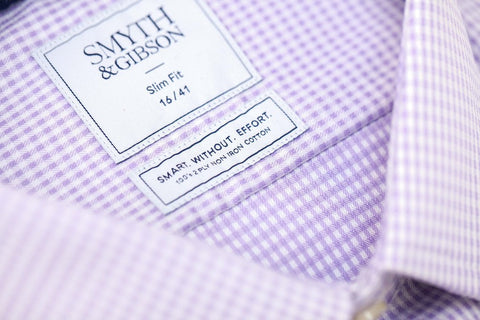 Smyth & Gibson S.W.E. Non Iron Twisted Gingham Contemporary Fit Shirt in Lilac