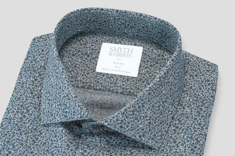 Smyth & Gibson Herringbone Brushed Cotton Floral Print in Grey - Smyth & Gibson Shirts
