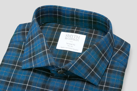 Smyth & Gibson Brushed Cotton Plaid Check in Navy, Blue & Green