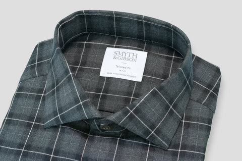 Smyth & Gibson Brushed Cotton Plaid Check in Black & Grey - Smyth & Gibson Shirts