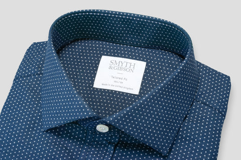 Smyth & Gibson Heavy Texture Micro Arrow Print in Navy - Smyth & Gibson Shirts