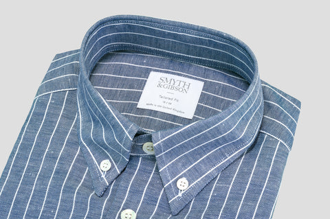 Smyth & Gibson Button-Down Oxford Linen Stripe in Blue - Smyth & Gibson Shirts