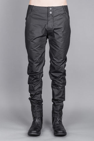 Darted tech waxed slim pants