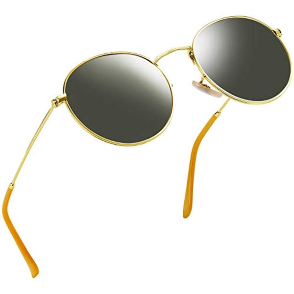Vintage Round John Lennon Gold Frame Sunglasses for Women