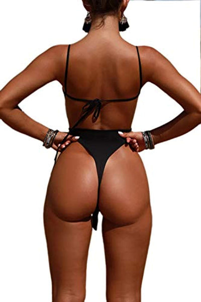 Backless High Cut Brazilian Thong One-Piece Swimsuit Monokini