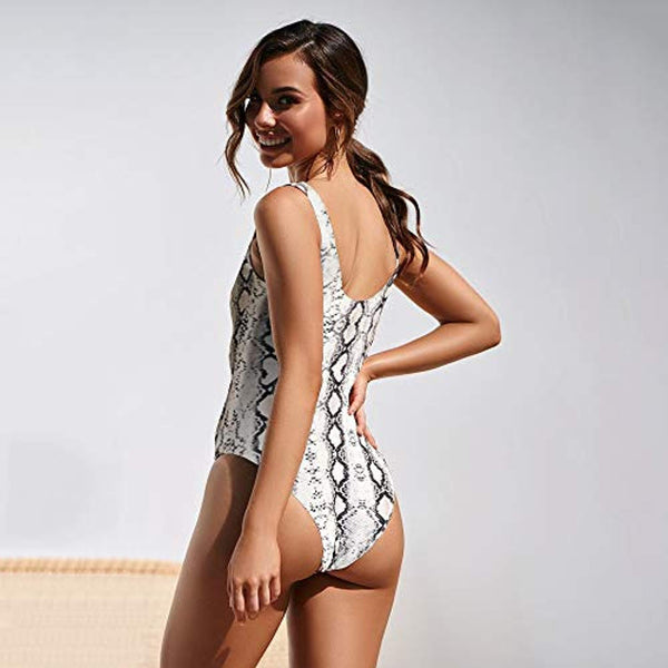 One Piece Grey Snakeskin Cute Swimsuit