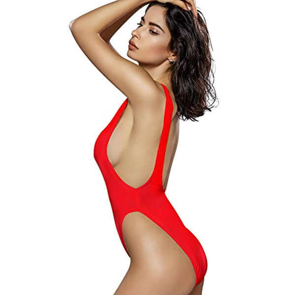 90s Trend One Piece Swimsuit Low Cut Sides Wide Straps High Legs for Women