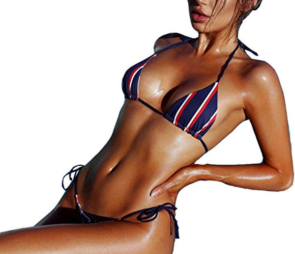 Striped Triangle Bikini Sets Female Top Tie Side Bottom Padded Swimsuit