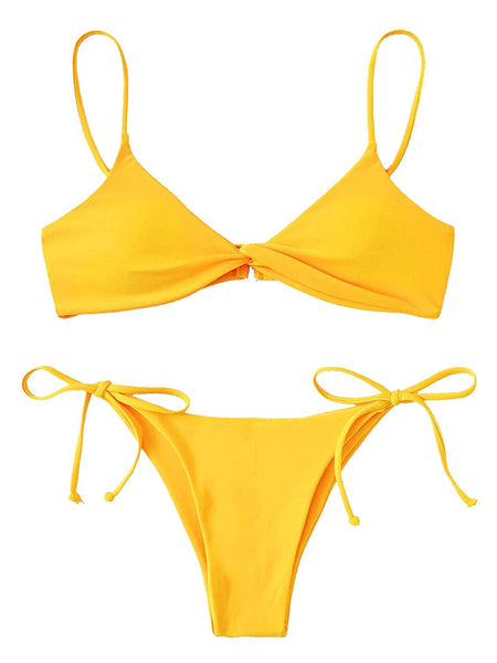 Spaghetti Strap Twist Front Bikini Set Swimsuit