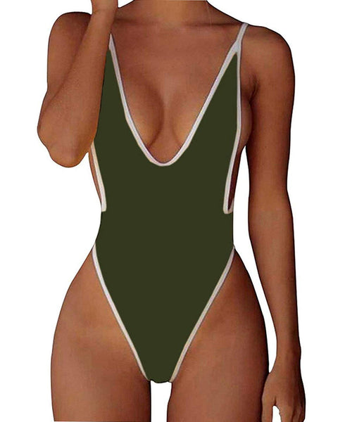 Deep V One Piece Bathing Suits Backless Cheeky Swimwear Semi Thong Bikini