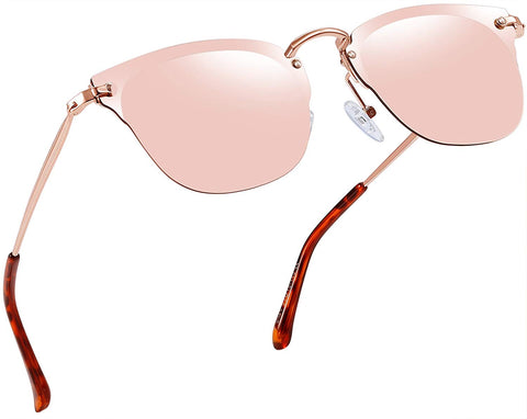 Vintage Aviator Style Round Sunglasses for Women Retro Brand Pink Polarized Lens