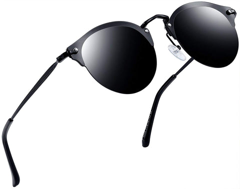 Vintage Aviator Style Round Sunglasses for Women Retro Brand Black Polarized Lens