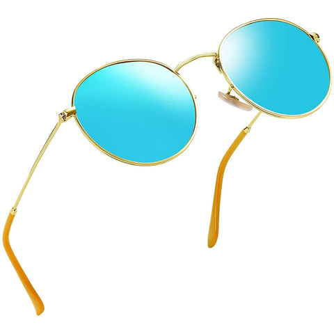 Vintage Round John Lennon Sunglasses for Women Retro Brand Polarized Sun Glasses Blue