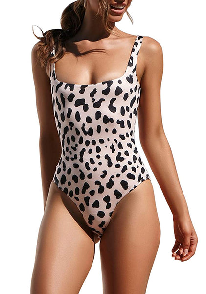 One Piece Halter Straps U Neck Backness Swimsuits Monikini Bathing Suit