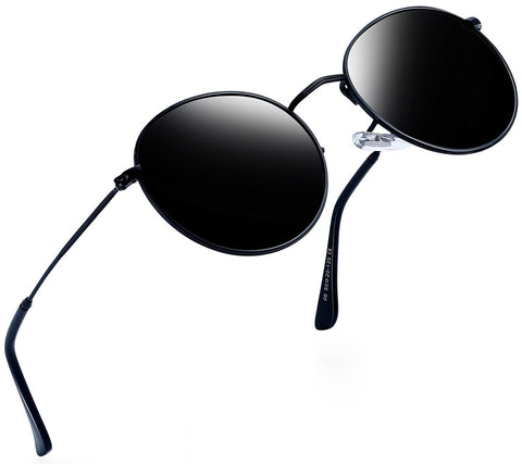 Vintage Round John Lennon Sunglasses for Women Retro Brand Polarized Sun Glasses Black