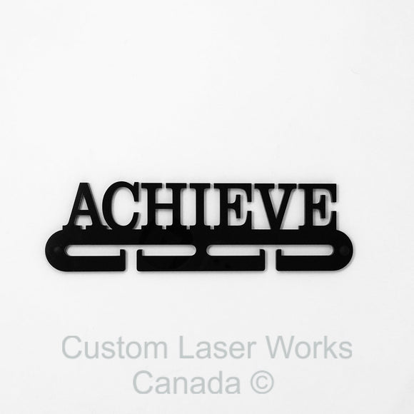 Medal Hanger - Achieve Black Acrylic 1/4 / 280Mm X 80Mm 6Mm Display