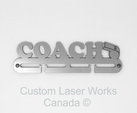 Medal Hanger - Coach Brushed Aluminium Finish ( On 1/4 Acrylic) / 280Mm X 80Mm 6Mm Display