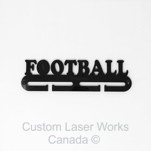 Medal Hanger - Football Black / 280Mm X 80Mm 6Mm Display