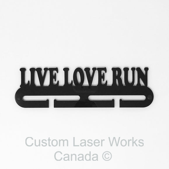 Medal Hanger - Live Love Run Black / 280Mm X 80Mm 6Mm Display