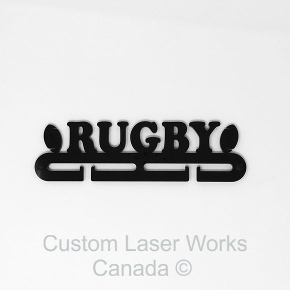 Medal Hanger - Rugby Black / 280Mm X 80Mm 6Mm Display
