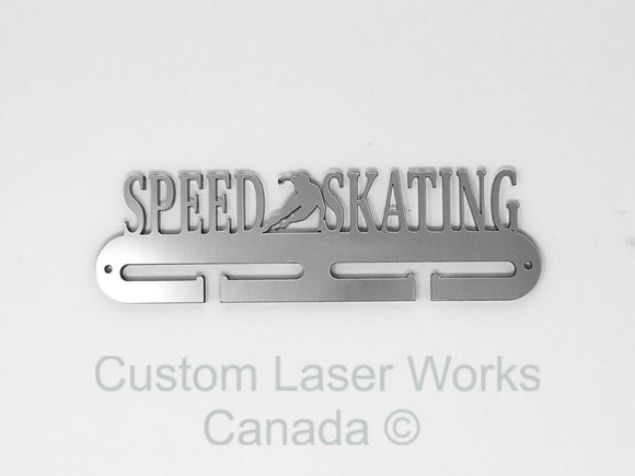 Medal Hanger - Speed Skating Brushed Aluminium Finish ( On 1/4 Acrylic) / 280Mm X 80Mm 6Mm Display