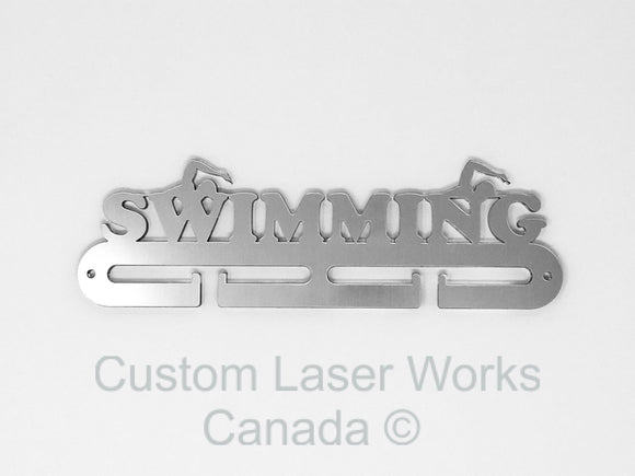 Medal Hanger - Swimming Brushed Aluminium / 280Mm X 80Mm 6Mm Display