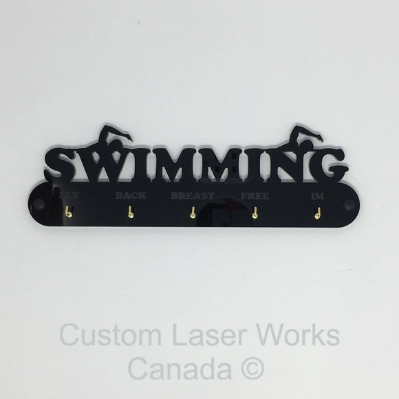 Medal Hanger - Swimming Ribbons Black / 280Mm X 80Mm 6Mm Display