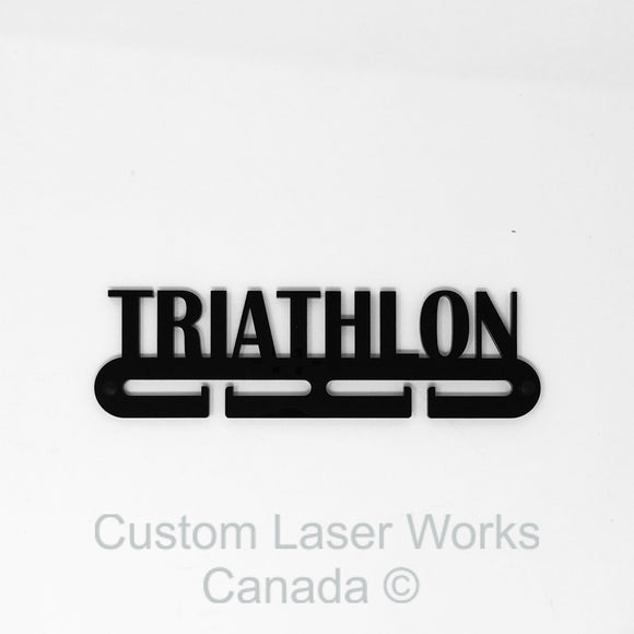 Medal Hanger - Triathlon (Word) Black / 280Mm X 80Mm 6Mm Display