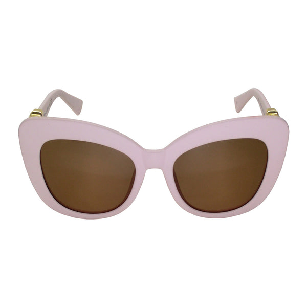 Kitten Sunglasses (Baby Pink Frame, Gold Logo, Brown Gradient Lens)