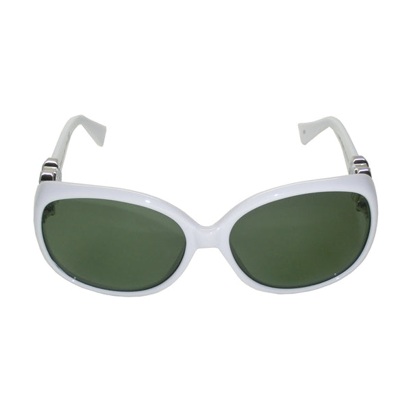Lady Sunglasses (White Frames, Silver, Logo, Green G15 Lens)