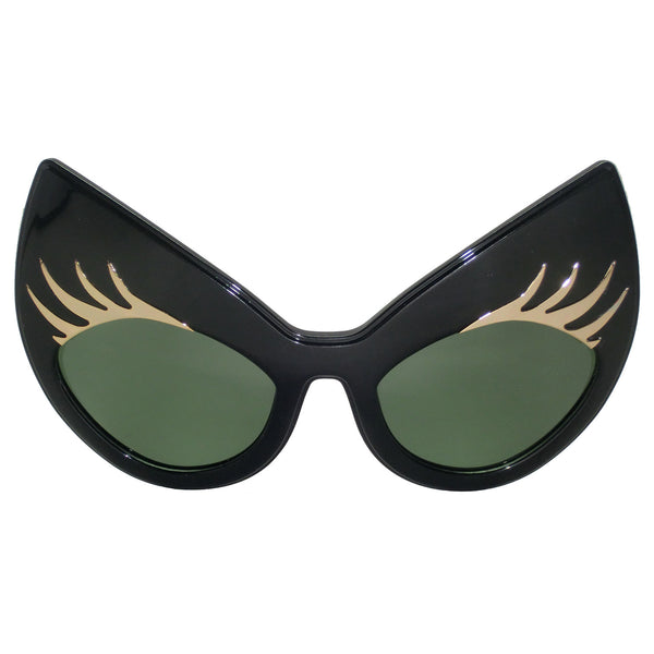 Super Cat Sunglasses (Black Frame, Black Rim, Gold Lashes, Green G15 Lens)