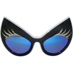 Super Cat Sunglasses (Black Frame, White Rim, Silver Lashes, Blue Revo Lens)