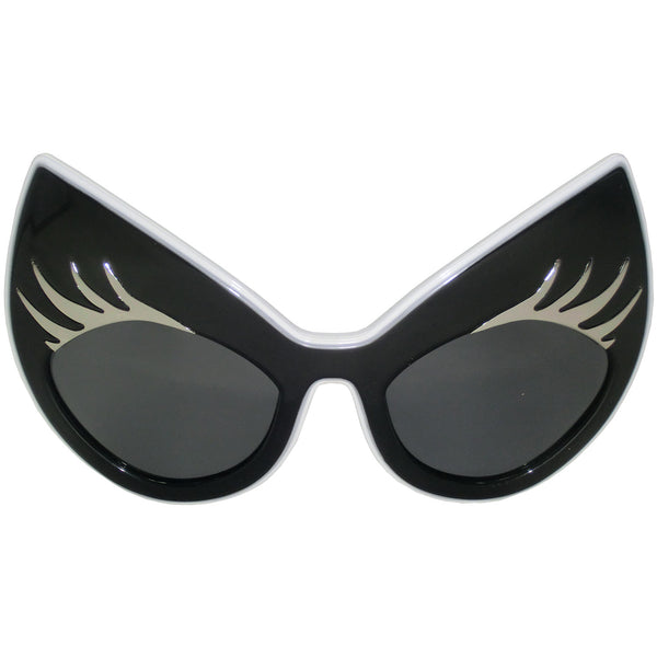 Super Cat Sunglasses (Black Frame, White Rim, Silver Lashes, Smoky Gradient Len)