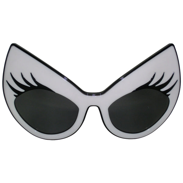 Super Cat Sunglasses (White Frame, Black Rim, Black Lashes, Smoky Gradient Lens)