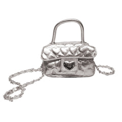 Heart Patterned Mini Bag (Silver)