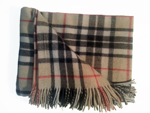 Wool Tartan Blanket: Camel Thomson - Throws -  - Best In Scotland