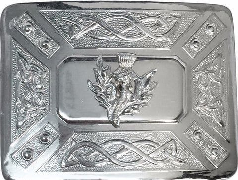 Thistle Kilt Belt Buckle with Small Thistle - Belts -  - Best In Scotland