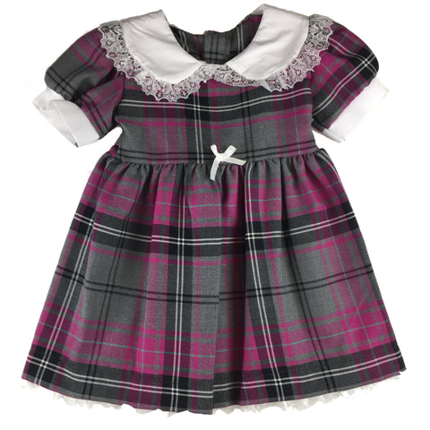 Girls' Purple & Gray Tartan Sunday Dress - Kids Clothing -  - Best In Scotland - 1