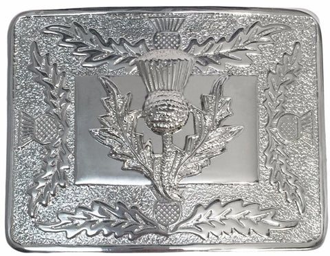 Thistle Kilt Belt Buckle with Large Thistle - Belts -  - Best In Scotland