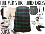 Black Watch Tartan 8 Piece Highland Kilt Outfit Package - 5 Yard Kilts -  - Best In Scotland - 1