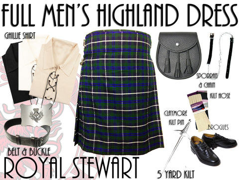 Douglas Tartan 8 Piece Highland Kilt Outfit Package - 5 Yard Kilts -  - Best In Scotland - 1