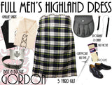 Gordon Dress Tartan 8 Piece Highland Kilt Outfit Package - 5 Yard Kilts -  - Best In Scotland - 1