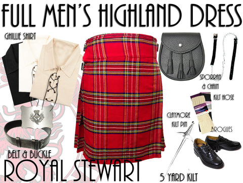 Royal Stewart Tartan 8 Piece Highland Kilt Outfit Package - 5 Yard Kilts -  - Best In Scotland - 1