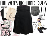 Black Modern 8 Piece Highland Kilt Outfit Package - 5 Yard Kilts -  - Best In Scotland - 1